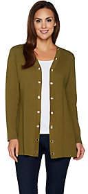 Susan Graver Cotton Rayon Sweater Cardigan withGrommet Trim