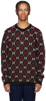 Gucci Black and Red GG Logo Sweater