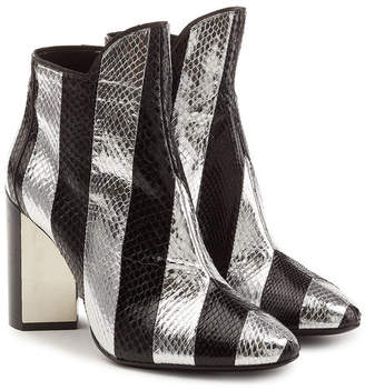 Pierre Hardy Leather Ankle Boots with Snakeskin