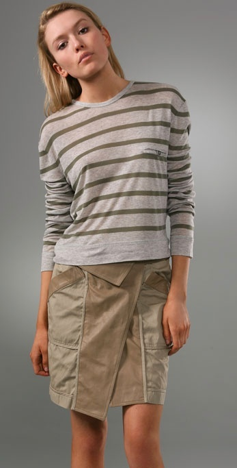 T By Alexander Wang 1x1 Striped Tee with Long Sleeves