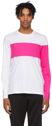 Helmut Lang White and Pink Logo Band Long Sleeve T-Shirt