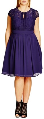 City Chic 'Romantic Rosa' Fit & Flare Dress (Plus Size) $149 thestylecure.com