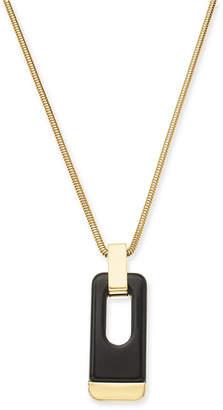 """Alfani Gold-Tone & Black Acrylic Large Link 34"""" Pendant Necklace"""