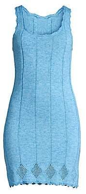 Victor Glemaud Women's Sleeveless Scalloped Crochet Bodycon Dress