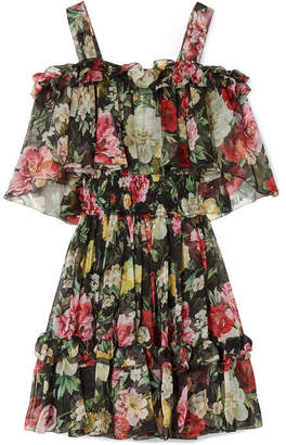 Dolce & Gabbana Cold-shoulder Floral-print Silk-chiffon Mini Dress - Black