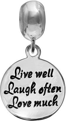 """Individuality Beads Sterling Silver """"Live Well Laugh Often Love Much"""" Charm"""