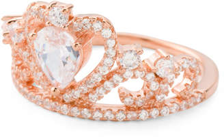 Rose Gold Plated Sterling Silver Cz Crown Ring