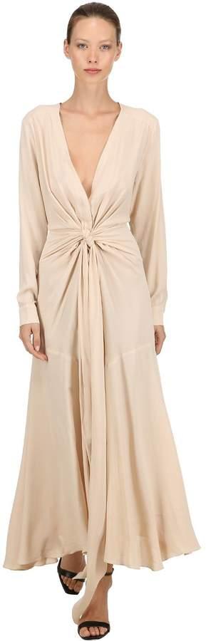 Crepe Long Dress W/ Front Knot