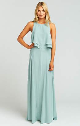 634eca5648 Show Me Your Mumu Princess Di Stretch Ballgown Maxi Skirt ~ Silver Sage  Crisp