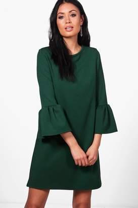 boohoo Lacey Scuba Crepe Frill Sleeve Shift Dress $36 thestylecure.com