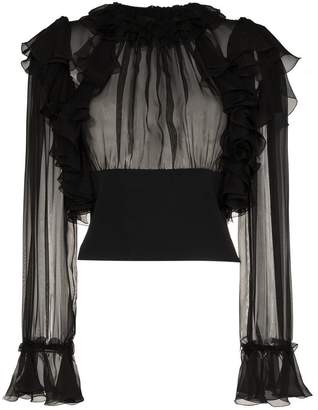 Dolce & Gabbana ruffle sleeve sheer silk blouse