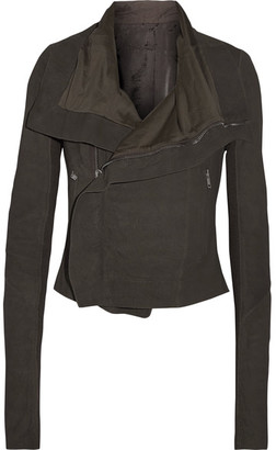Rick Owens - Brushed-leather Biker Jacket - Charcoal $2,410 thestylecure.com