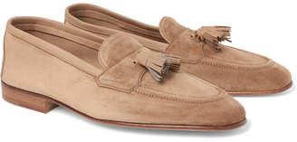 Edward Green Portland Leather-Trimmed Suede Tasselled Loafers
