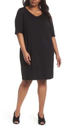 Eileen Fisher V-Neck Stretch Jersey Shift Dress