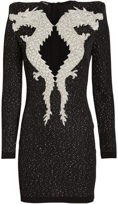 Balmain Dragon Embellished Knit Dress