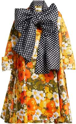 RICHARD QUINN Floral polka-dot duchess-satin coat