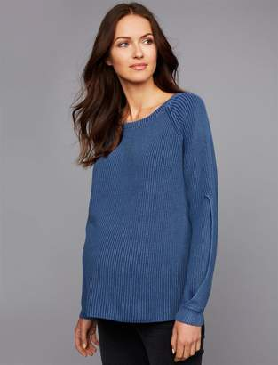 A Pea in the Pod Luxe Essentials Denim Boyfriend Fit Maternity Sweater