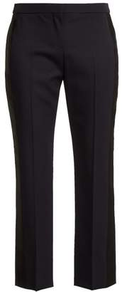 Alexander McQueen Side Striped Wool Cropped Trousers - Womens - Navy