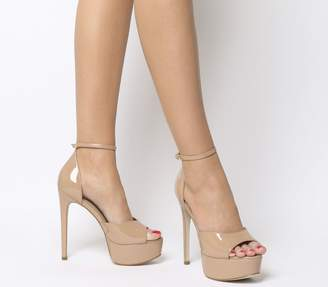 e9ed99fb934 Office Holy Smoke Peep Toe Platform Heels Nude Patent