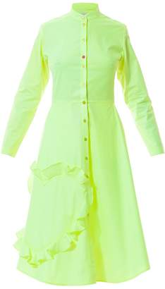 Talented - Mandarin Collar Shirtdress With Ruffle Heart Applique Neon