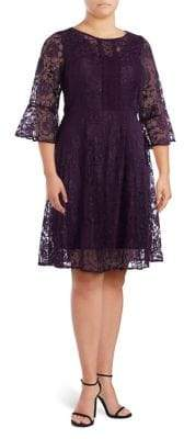 Gabby Skye Plus Paneled Lace Fit-&-Flare Dress
