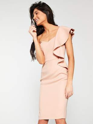 Very Premium Satin Finish Pencil Dress- Blush