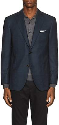Pal Zileri MEN'S CHECKED WOOL TWO-BUTTON SPORTCOAT - BLUE SIZE 42 S