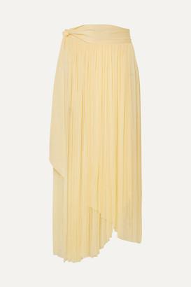 Elena Makri Delfis Asymmetric Pleated Silk-tulle Midi Skirt