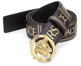 Versace Men's Medusa Printed Leather Logo Belt