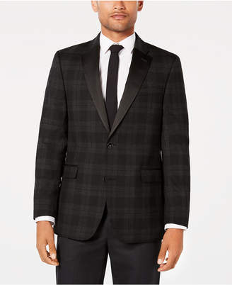 Tommy Hilfiger Men's Modern-Fit Th Flex Stretch Charcoal/Black Tartan Dinner Jacket