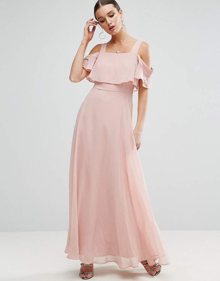 AsosASOS Cami Cold Shoulder Flutter Sleeve Maxi Dress