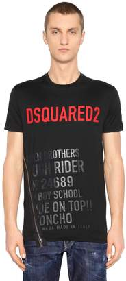 DSQUARED2 Logo Print Cotton Jersey T-Shirt W/ Zip