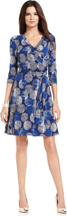 Amy Byer Petite Dress, Three-Quarter-Sleeve Printed A-Line Wrap