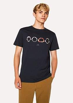 Paul Smith Men's Slim-Fit Dark Navy 'Shark Jaws' Print Organic-Cotton T-Shirt
