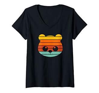 Womens Retro Panda - Cool Panda Bear Vintage V-Neck T-Shirt
