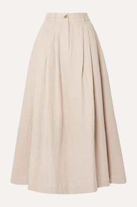 Mara Hoffman Tulay Pleated Organic Cotton And Linen-blend Midi Skirt - Baby pink