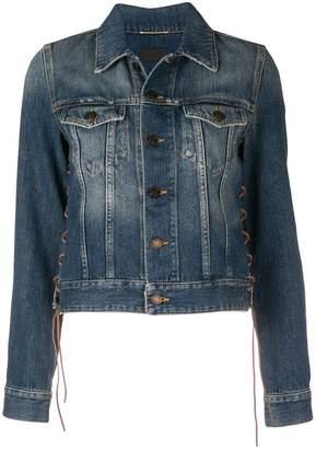 Saint Laurent lace-up detail denim jacket