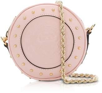 Balmain Renaissance Pink Smooth Leather Mini Disco Bag W/embossed Blazon