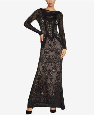 BCBGMAXAZRIA Fringe-Trim Lace Gown