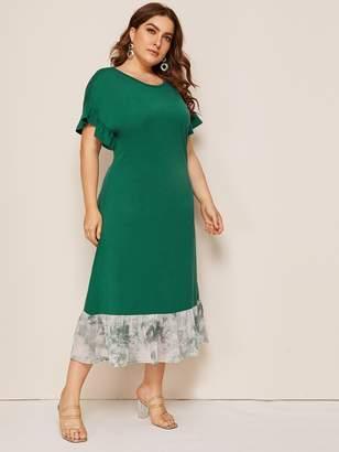 Shein Plus Ruffle Hem Flounce Sleeve T-shirt Dress