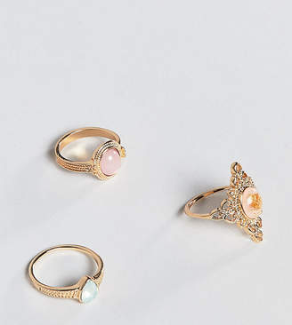 Asos Design Curve Pack Of 3 Rings In Cut Out And Engraved Design With Stones In Gold