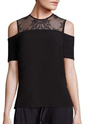 A.L.C. Glyn Lace Yoke Cold-Shoulder Top