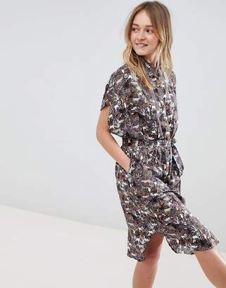 Monki Animal Print Oversized Shirt Dress