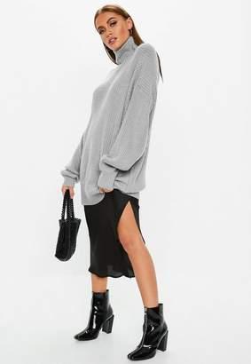 Missguided Premium Gray Turtle Neck Ribbed Boyfriend Sweater
