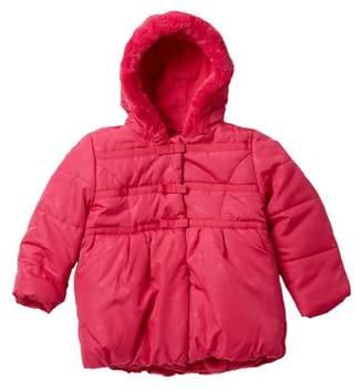 Tahari Heat Stamped Bow Print Faux Fur Jacket (Toddler Girls)