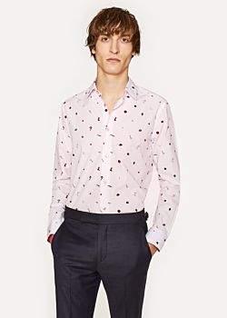 Paul Smith Men's Tailored-Fit Pale Pink 'Travel' Print Cotton 'Signature Stripe' Cuff Shirt