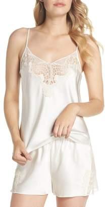 Christine Lingerie Lace Trim Short Silk Pajamas