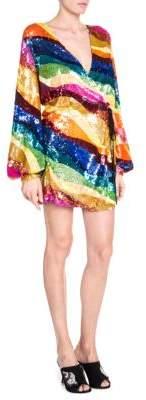 ATTICO Sequin Striped Wrap Dress