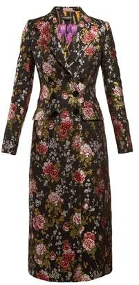 Dolce & Gabbana Floral Jacquard Long Coat - Womens - Black Multi
