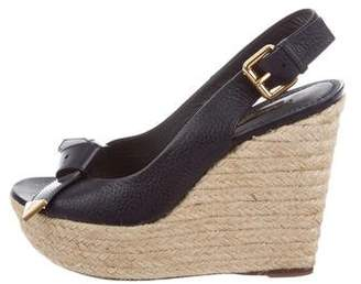 Louis Vuitton Leather Espadrille Platform Wedges